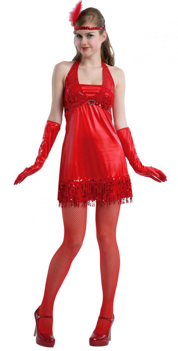 0c7c89340c6 Dámksý kostým dívka z 20. let v červeném