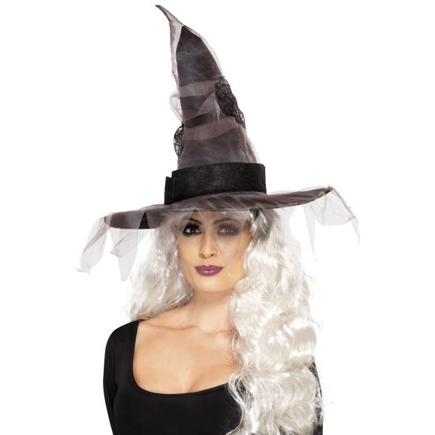 859aa549325 Dámský klobouk Čarodějnice černo šedý se síťkou