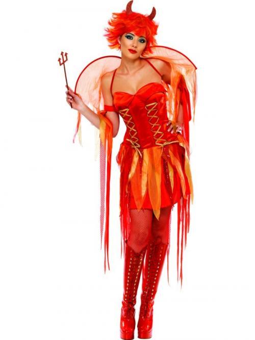 Dámský kostým čertice (červeno-oranžové šaty)  01580d8806b