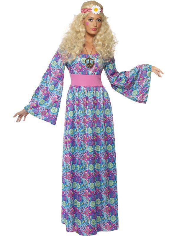 4b734b992bf2 Dámský kostým hippies dlouhé šaty modré