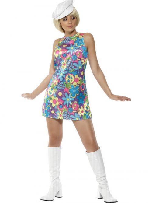 70ebe8144c97 Dámský kostým hippiesačka (modré šaty s květinami ...