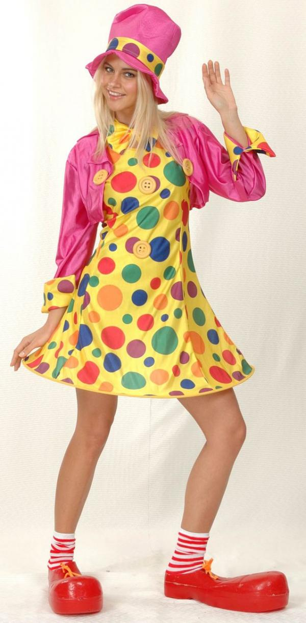 9eb5dc68529e Dámský kostým Klaun (žluté šaty s barevnými puntíkami ...