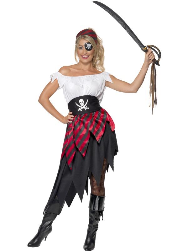 9a0bf3ec3d27 Dámský kostým pirátka (červeno-černá sukně)