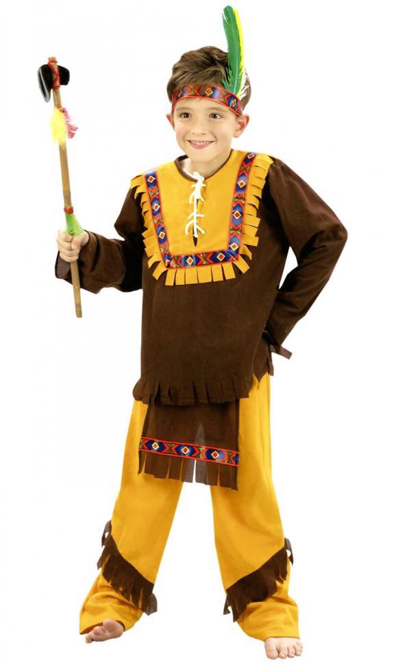 Dětský kostým Indián hnědá žlutá  76ac4744ca