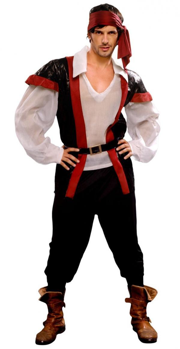 Pánský kostým pirát (černo-červená vesta)  eed8a5e709a