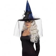 6098c382caf Čarodějnický klobouk modrý s peřím