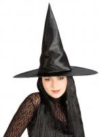 Dámský klobouk čarodějnice černý satén