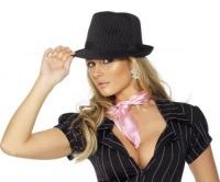 Dámský klobouk černý s proužkem