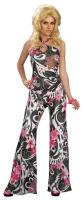 Dámský kostým hippies kalhotový černo-růžový