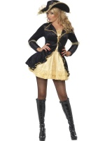 Dámský kostým pirátka černá/zlatá
