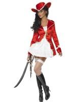 Dámský kostým pirátka červená/bílá