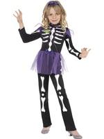 Dětský kostým kostlivec (s fialovou sukní)