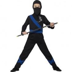 Dětský kostým ninja s modrými doplňky