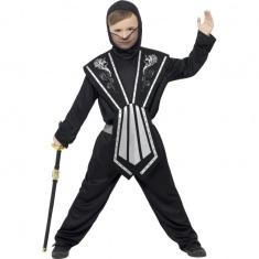 Dětský kostým ninja se stříbrnými doplňky