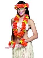 Dámská havajská sada červená 2x věneček a 2x náramek