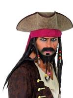 Klobouk pirátský s vlasy a šátkem (Jack Sparrow)