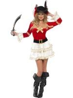 Dámský kostým Sexy pirátka červeno-bílý