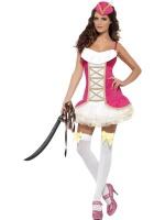 Dámský kostým Sexy pirátka růžový